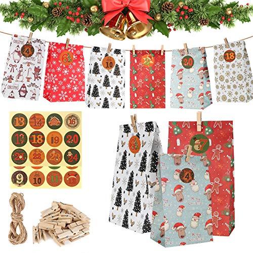 Calendari Dell'Avvento, 24 Avvento Calendario Avvento da Riempire, Calendario Avvento 2020 Sacchetti Regalo di Carta di Natale, con 1-24 Adesivi Numerici, Sacchetti Regalo Sacchetti di Caramelle
