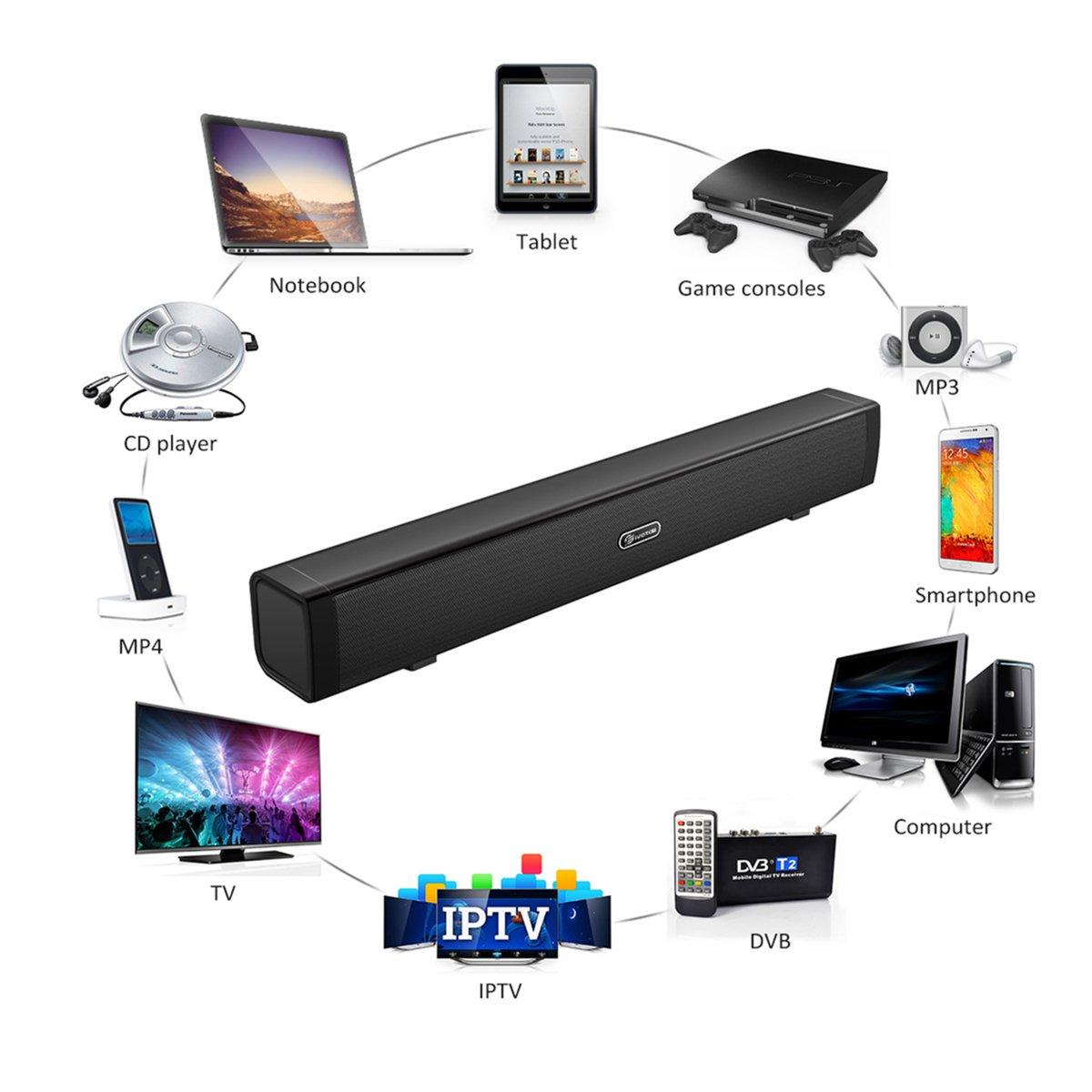 Barra de Sonido,EIVOTOR Barra Inalámbrica para PC Mini Altavoz Soundbar USB Portatil con Puerto AUX de 3,5 mm Estéreo Dual 3D (2x3W),Negro: Amazon.es: Electrónica