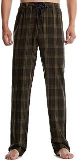 LZJDS Mens Check Pyjama Bottoms Cotton Comfortable Elasticated Waist Nightwear