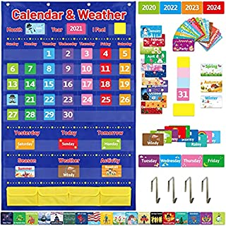 Calendar and Weather Pockets Chart with 112 Cards Home Classroom School Supplies
