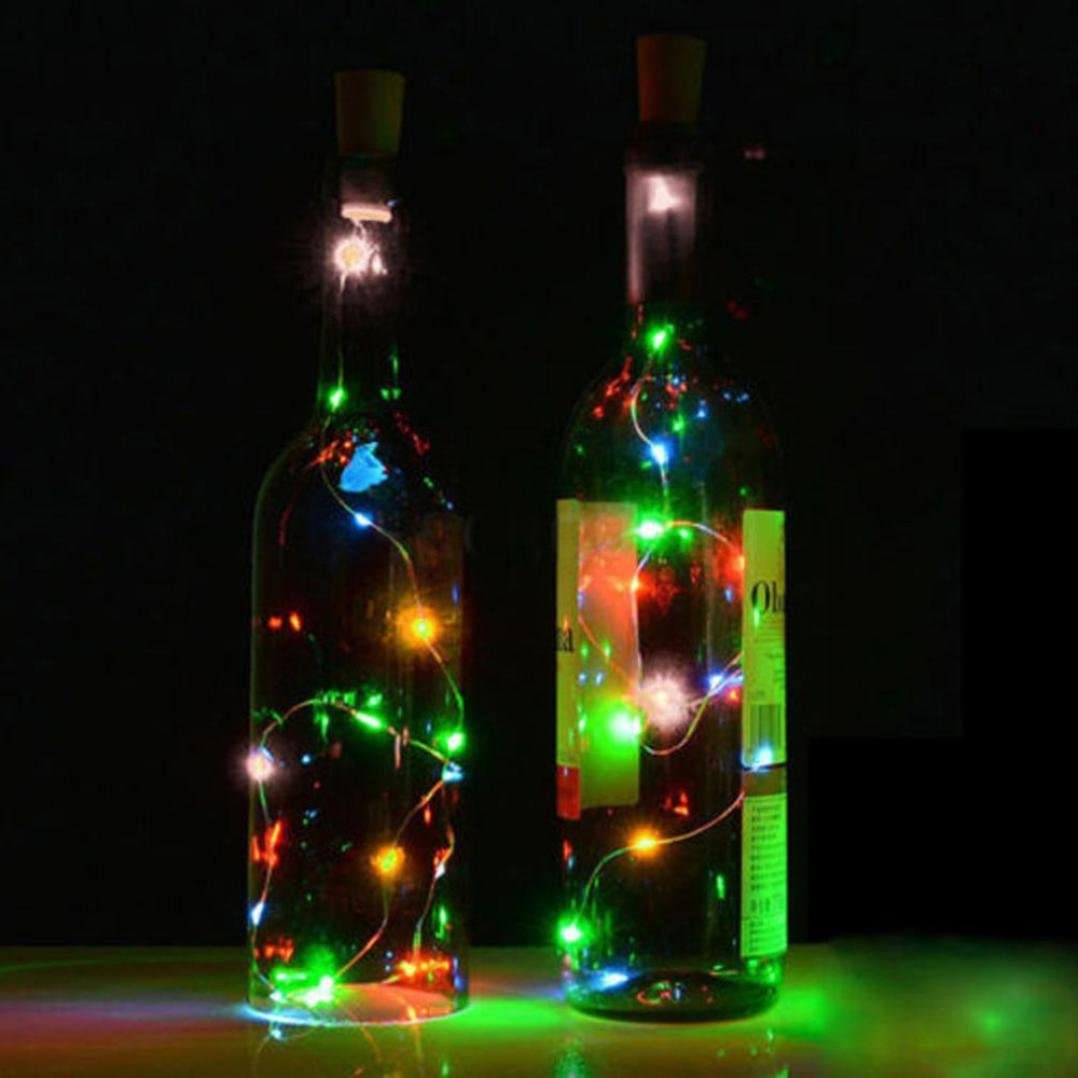 Vacally LED light,Copper Wire Wine Bottle Cork Shape Light Starry Light Wedding Indoor Outdoor Decor 8LED