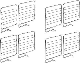 mDesign Pionowe przegrody do półek – Praktyczne podziałki półek z metalu – Druciane przegródki na półkę – 8-pack – Chrom
