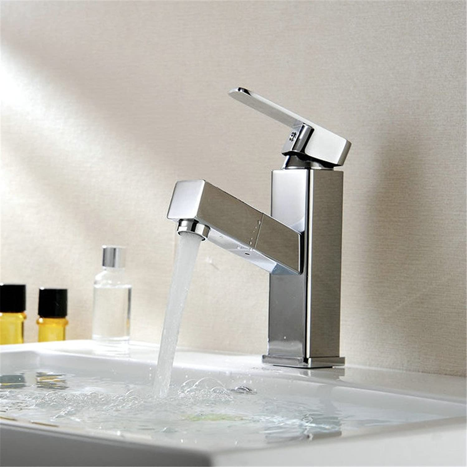 MIAORUI Basin faucet, all copper pulling basin, heightening hot and cold water, bathroom faucet, pan basin, washbasin, water tap