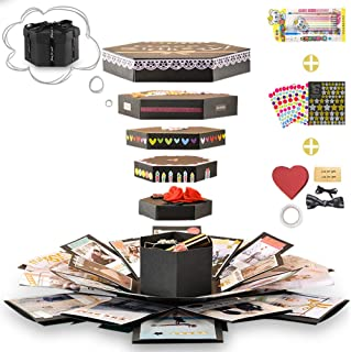 Wanateber Explosion Box, DIY Explosion Gift Box for Handmade Photo Album with 6 Faces for Birthday Gift, Mother's Day, Wedding or Valentine's Day (Black)