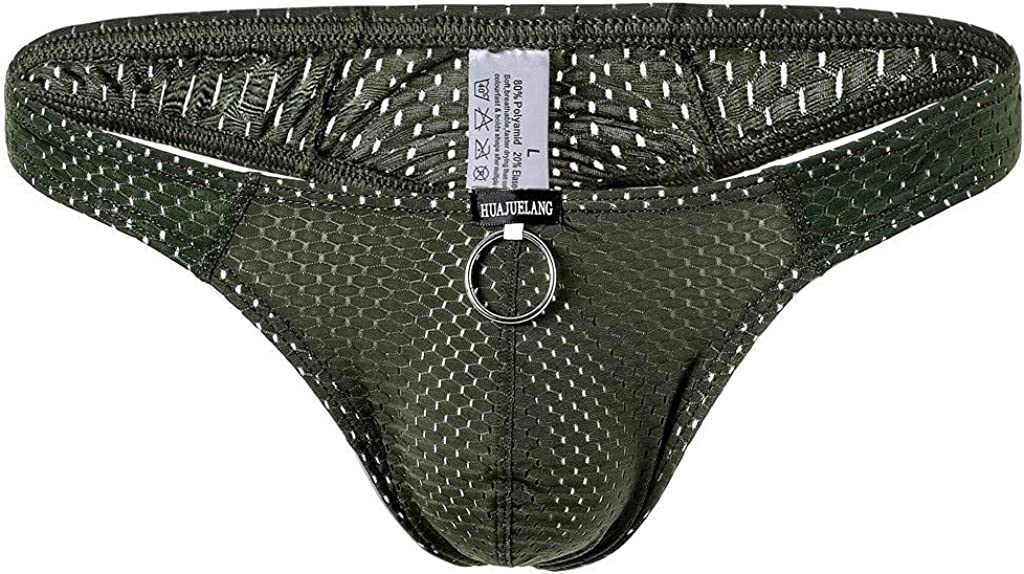 Mens Sexy Mesh Boxer Briefs Underwear Comfort Breathable Cool Dri Fit Cotton Stretch Waistband Boxers G-Strings Thongs