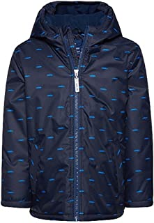 Kid's Boy's Navy Hooded Jacket Coat with CAR OR Plaid Design, Fleece Lined Sizes 2 to 10