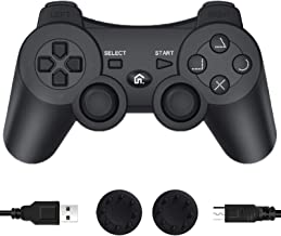 PS3 Controller Wireless, PS3 Controller Gamepad Compatible with Playstation 3, Double Vibration Controller with Charging Cable(Black)
