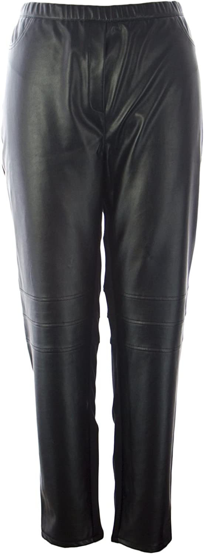 Marina Rinaldi Women's Ocraceo Faux Leather Accent Pants Black
