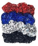 HipGirl 4ct Sequin Scrunchies for Women,Sparkle Big Scunci Hair Ties for Teen Girls Hair Accessories for Women,Hair Scrunchies Packs-Blue,Silver,black Scrunchie,Red Scrunchie Set