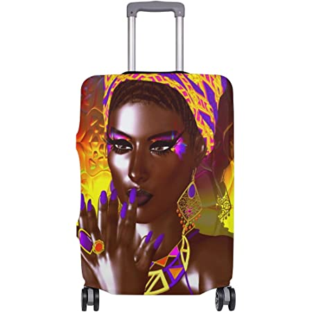 Luggage Cover African American Woman Elastic Suitcase Protector Fits 18-32 Inch