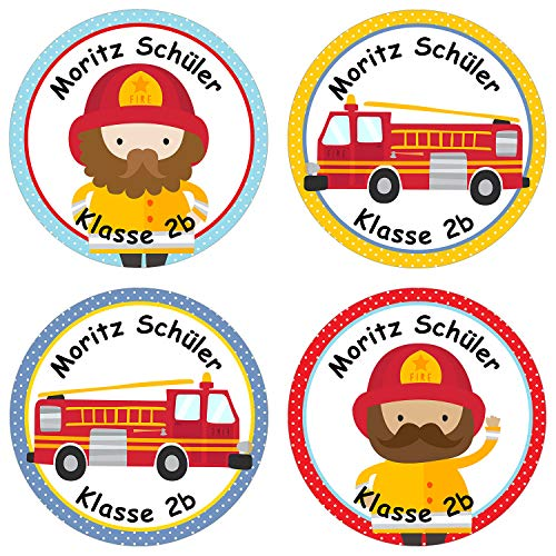 Papierdrachen 24 individuelle Aufkleber für Kinder - Motiv Feuerwehr - personalisierte Sticker - Perfekt zur Einschulung - Geschenk für die Schule - Namensaufkleber und Schulbuchetiketten