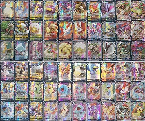 Eholder Pokemon Karten Vmax, Pokemon Sammelkarten Set mit 49 V Pokemon-Karten 11 Vmax Pokemon Cards (60 Pack)