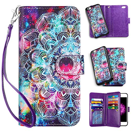 Vofolen 2-in-1 Case for iPhone 6S Plus Case iPhone 6 Plus Wallet Card Holder Detachable Flip Cover Magnetic Folio PU Leather Protective Slim Shell with Wrist Strap for iPhone 6 Plus 6S Plus (Mandala)