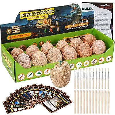 Dino Egg Dig Kit-12 Dinosaur Eggs Dino Egg Excavation Kit for Dinosaur Birthday Theme Party Science STEM Toys Easter Paleontologist Gift Preschool Educational Toys for Boys Girls Kids