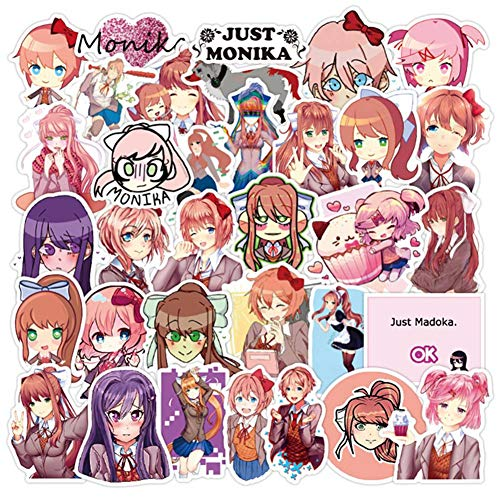 Saicowordist Lot de 50 autocollants Doki Doki Literature Club Anime Doodle Stickers Voyage Chariot Autocollant PVC Imperméable Voiture Autocollant Doodle Stickers Anime Fans Cadeaux
