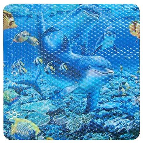 Sanixa PA173 Design Duscheinlage Anti-Rutsch Delfin Matte Duschmatte blau 52x52 cm für die Duschwanne rutschfest Mit Saugnäpfen für Bad & Dusche