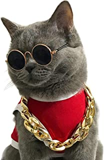 JJunLiM Sunglasses and Cool Gold Chains Necklace for Cats and Small Dogs Puppy