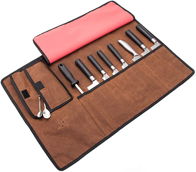 Chef S Knife Roll Up Bag Waxed Canvas Culinary Tools Carrier Professional Chef Cooking Tools Knives Storage Case Knife Roll With 8 Spacious Pockets And One DetachableStorage Unit