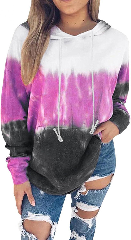 Gerichy Womens Hoodies Tops Tie Dye Printed Long Sleeve Drawstring Hoodies Cute Pullover Sweatshirts with Pocket