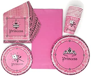 Birthday Party Paper Plates Napkins Cups and Tablecloth Princess Theme Bundle of 5, Service for 8