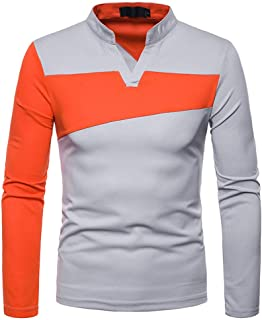 iLXHD 2018 Men's Long Sleeve Irregular Patchwork Henry Collar Blouse Shirts