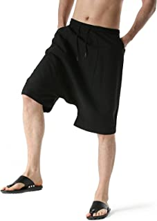 Mens Cotton Lounge Pants Drop Crotch with Pockets Elasticated Waist Plain Pyjama Bottoms Breathable Summer Beach Shorts Wa...