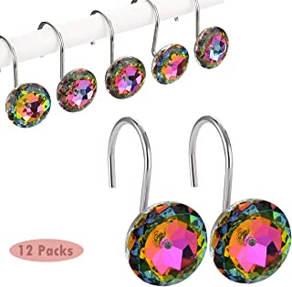 Gninatgo (12 Pack) Shower Curtain Hooks, Set of 12 Pcs Decorative Crystal Rhinestones Rings for Bathroom Shower Curtain (Colorful)
