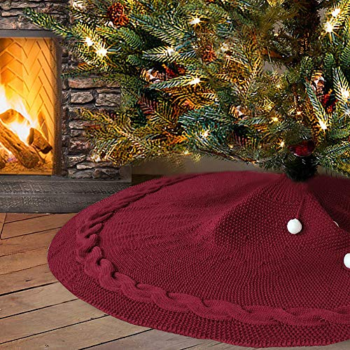 Didihou Christmas Tree Skirt, 48 inches Red Knitted Tree Skirt for Christmas Decorations Rustic Xmas Tree Skirts Holiday Decoration, Burgundy