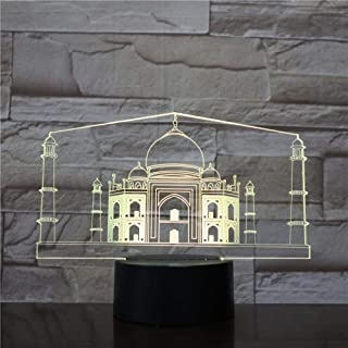 Onmyfly 3D Led Night Light India Taj Mahal Atmosphere Lamp Decoration RGB Kids Baby Gift Famous Buildings Table Lamp Bedside Neon USB