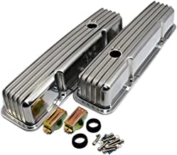 Assault Racing Products A6181 Small Block Chevy Finned Polished Aluminum Tall Style Valve Cover 58-86 Retro SBC