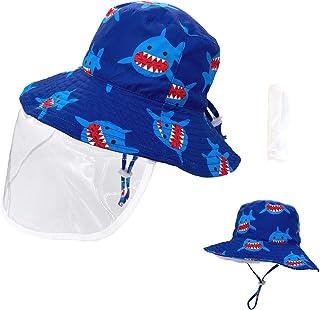 Kids Protective Hat withFace Shield Dustproof Cover Boys Girls Fisherman Cap Anti UV Sun Hat Multifunctional Bucket for Children