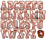 Baseball Letters Alphabet Wall Stickers Peel and Stick ABC Children Kids Child Decals Bedroom Nursery Playroom