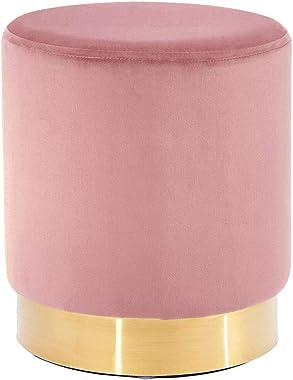Meubletmoi Pouf Rond en Velours Rose et Acier doré diamètre 35 cm - Style Chic - UPPE 8582