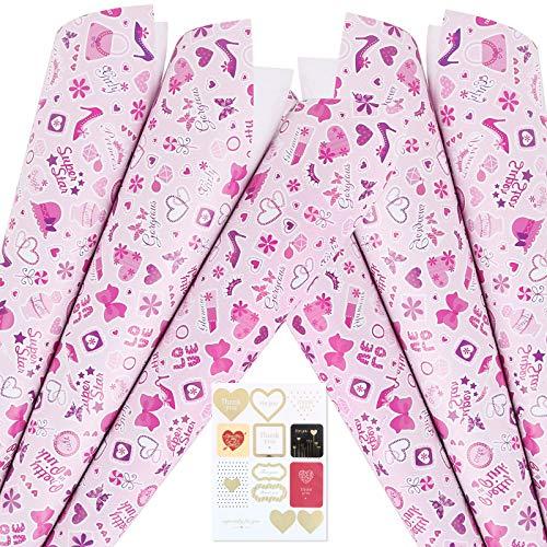 6 Blatt Geschenkpapier mit Herzen für Valentinstag 70 x 50 cm ideal für Valentinstagsgeschenke Hochzeit Mutterstag Verlobung Jubiläen mit Aufkleber zum Basteln