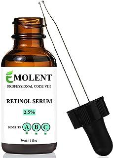 EMOLENT, PROFESSIONAL CODE VIII, RETINOL SERUM, 2.5% with Hyaluronic Acid & Vitamin E, 72% ORGANIC,(Package may vary), 1 F...