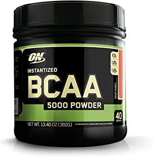Optimum Nutrition Instantized BCAA Powder, Keto Friendly Branched Chain Essential Amino Acids, 5000mg, Fruit Punch, 40 Ser...