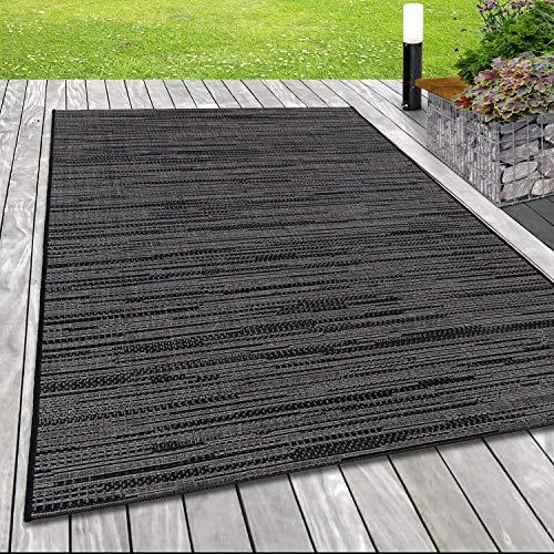 SIMPEX Tapis d'extérieur aspect sisal - Lignes grises - Couleur : gris - Dimensions : 160 x 230 cm