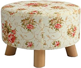 Yxsdd Footrest Padded Footrest Round Stool Stain Stool Back Upholstered Wooden Upholstered Bench Cushion Flowers Fabric Fa...