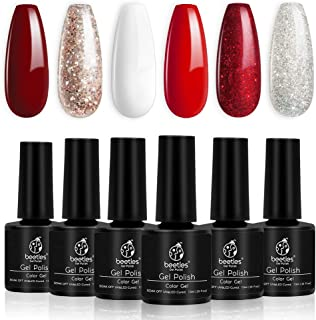 Beetles Candy Cane Gel Nail Polish Set - 6 Colors Glitter Burgundy Red Sparkle Gel Polish Kit Snow White Silver Nail Gel S...