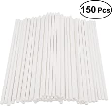 BESTONZON 150pcs Cake Pop Sticks Paper Lollipop Sticks Birthday Party DIY Craft Sticks 15cm - White