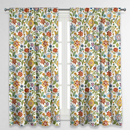 RosieLily Colorful Curtains Sydney Curtains Floral Curtains for Bedroom Flower Curtains Boho Curtains Paisely Curtains Vintage Curtains Floral Curtains 63 Inch Length Set of 2 Panels (52Wx63L)