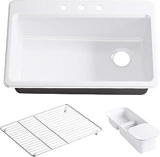 KOHLER K-5871-3A2-0 Riverby Single Bowl Top-Mount Kitchen Sink with Three-Holes, White