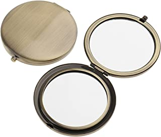 Blesiya 2Pieces Travel Compact Makeup Mirror Premium Double Folding Cosmetic Mirrors - Bronze, as described