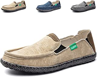 JAMONWU Mens Canvas Shoes Fashion Slip on Deck Shoes Boat Shoes Non Slip Casual Loafer Flat Outdoor Sneakers