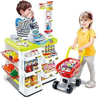 Kids Supermarket Playset with Toy Shopping Cart, Toy Cash Register, Checkout Counter, Working Scanner, Play Money, 23 Play...