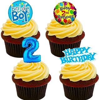 Made4You Decoración Comestible para Tarta de 2º Cumpleaños, Diseño de oblea, Color Azul,