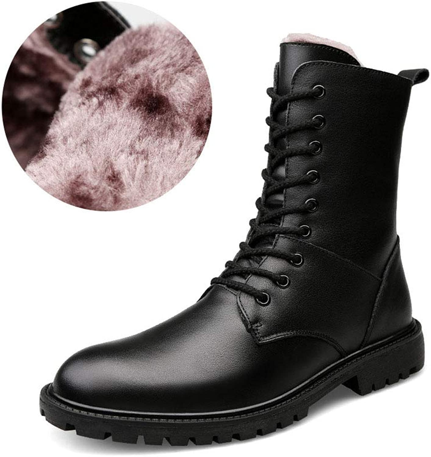 Men's Martin Boots New Fall Winter High-top Plus Velvet Combat Boots Lace-up Non Slip Outdoor Leather Motorcycle Boots (color   Black, Size   45)