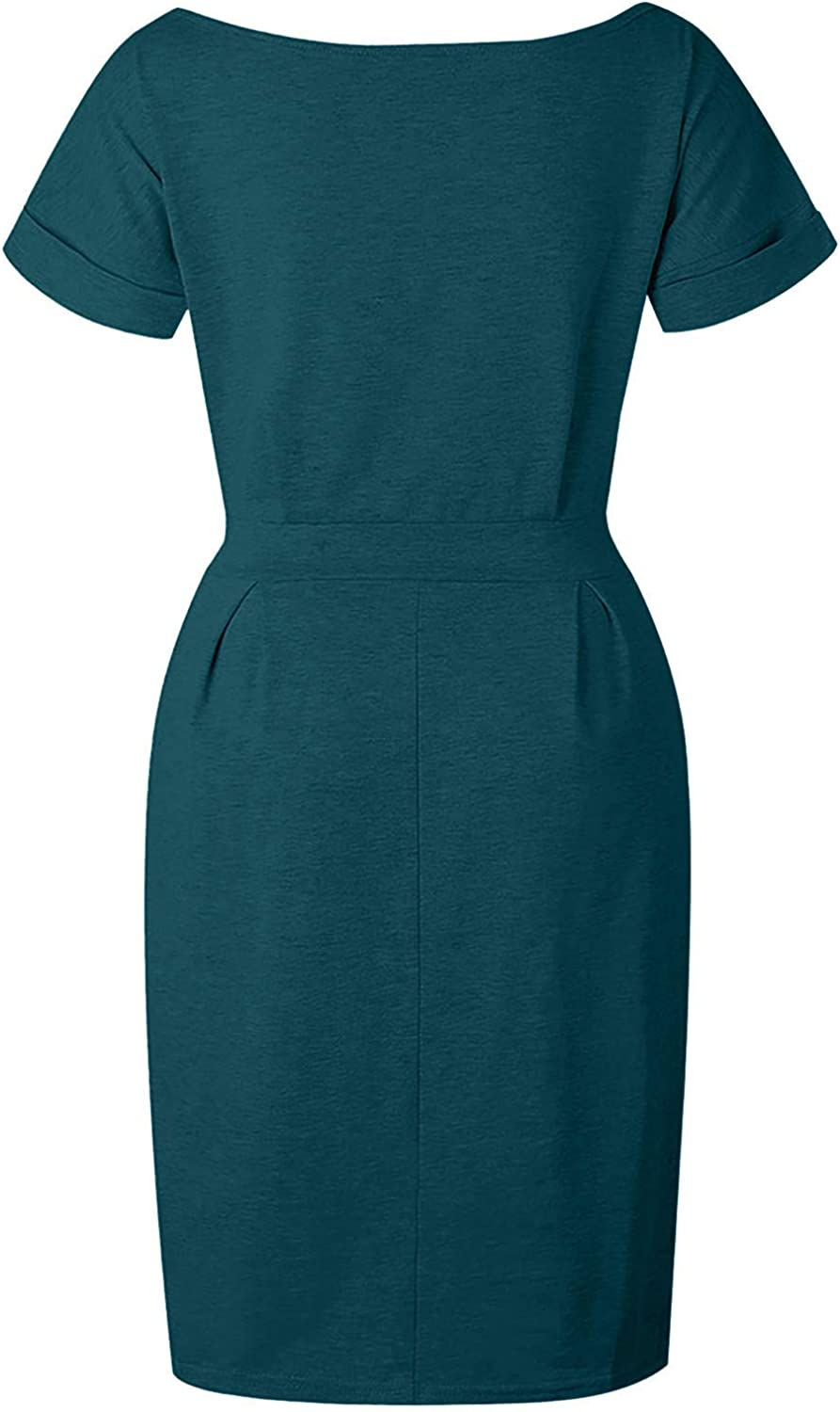 WYTong Womens Basic Crewneck Belted Office Dress with Pockets Solid Color Sexy Short Sleeve Party Slim Dress