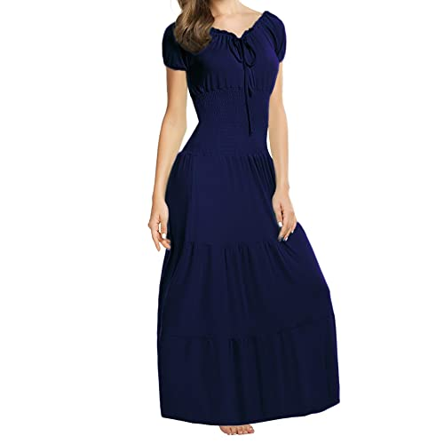 60fe7120a4c ELESOL Women Renaissance Boho Cap Sleeve Smocked Waist Tiered Party Maxi  Dress