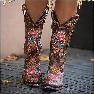 Mujeres Botas De Montar Tamaño Grande Puntera Puntiaguda Retro Western Cowboy Botas Largas De Caballero Bordado Mediados-B...